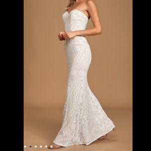 LULU's Olivia White Sequin Strapless Dress